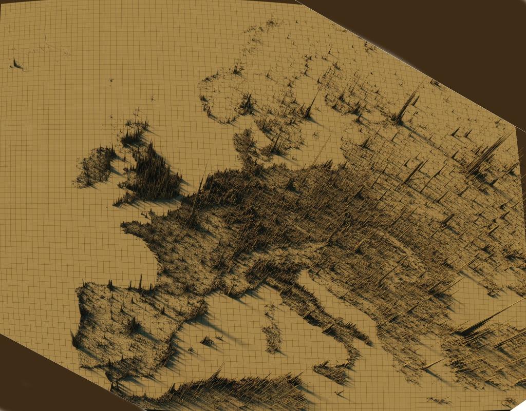 mappa dela densità abitativa europea